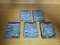 Lot Of 5 Mattel 1966 Thingmaker Creepy Crawlers Metal Molds Flowers Insects