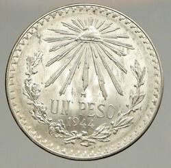 1944 Mexico Eagle Liberty Cap Large Vintage Old Silver Peso Mexican Coin I94355