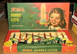 Vintage Box Of Noma 9 Biscuit Bubble Lights.c-6 Original, All Working,1947,1948