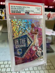 2018 Panini Spectra In The Zone Autographs Kevin Durant /15 Psa 9 On Card Auto