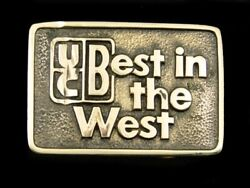 Sf01140 Vintage 1970s Ucb Best In The West Advertisement Solid Brass Buckle