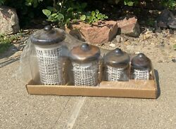 Vintage Set Of 4 Glass Canisters Wood Lids Jars Round Food Candy Storage New Nos