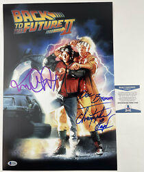 Michael J Fox And Christopher Lloyd Signed 12x18 Poster Back To The Future 2 Bas