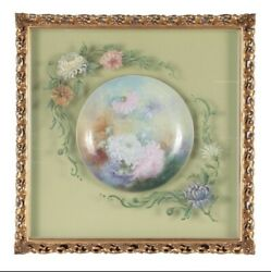 Antique Shadow Boxed Hand Painted Limoges Porcelain Plate. Early To Mid 20 Centu
