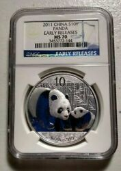2011 China Panda Ngc Ms70 1oz .999 Silver Coin - S10y Yuan Early Releases Er