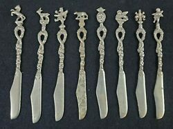 Vintage Collectible Miniature Silver-plate Knives Set Of 8 Made In Italy