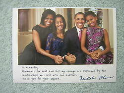 Thank You For Your Support Signed Michelle Obama Family Photo 2012 Campaign