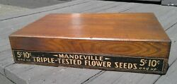 Antique Mandeville And King Flower Seed Counter Top Oak Sales Display Case