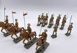 Vintage Cast Lot Lineol Germany Wwi Toy Soldiers Riding Horses Carrys Flag Gun