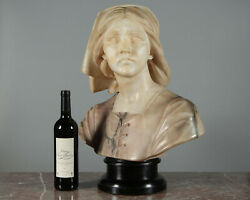 Large Antique Italian Polychrome Bust Of Joan Of Arc C.1900.