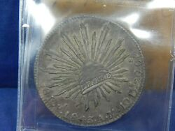 1843 Pi Am 8 Reales Plate Coin Cap And Rays Mexico Dunnigan And Parker Unique