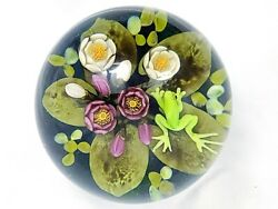 Amazing Cathy Richardson Frog On Lily-pads In Pond Paperweight 3 1/8 Free Ship