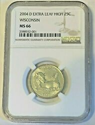 2004-d Wisconsin State Quarter Variety Extra Leaf High Ngc Ms66 Nice Luster