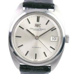 Antique Date Cal.8541b 1827 Automatic Leather Silver Dial Menand039s Watch[u0820]