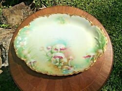 Antique Platter Hand Painted Haviland Limoges Gold W Mushrooms C1894 14 Inches