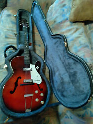 Vintage 60's Airline 2 Pickup H54 Hollow Body Electric Guitar W/case