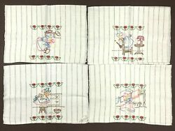 Set 4 Vintage Hand Embroidery Linen Kitchen Dish Towels Girl Housework 22x15''