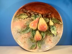 Antique French Majolica Palissy Applied Pears And Flowers Wall Plaque