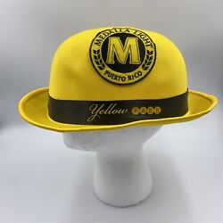 Vintage Cerveza Medalla Light Yellow Pass Bowler Hat Adult Size Puerto Rico Beer
