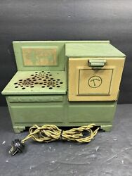 Vintage Empire Electric Metal Ware Corp Toy Kitchen Green Stove As Is Untested
