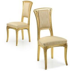 Art Nouveau Pair Of Carved Giltwood Antique Side Chairs, 20th Century