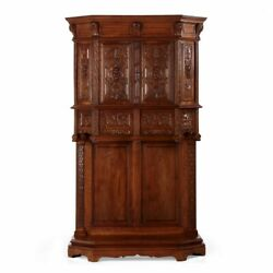 Gothic Revival Finely Carved Walnut Antique Cupboard Cabinet, Circa 1880
