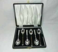 Cooper Brothers Sheffield 1964 Art Deco Style Cased Silver Tea Coffee Spoons