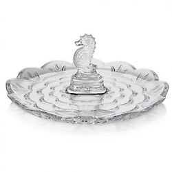 Waterford Crystal Seahorse Round Server Tidbit Tray 9 Scalloped New 40027967