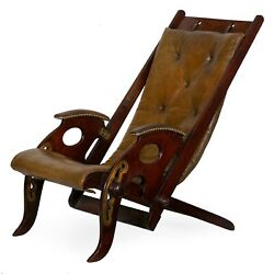 English Victorian Mahogany And Leather Metamorphic Reclining Campaign Chair
