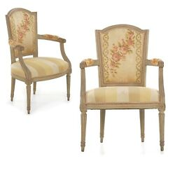 Pair Of French Louis Xvi Gray Painted Beechwood Antique Arm Chairs, 19th Century