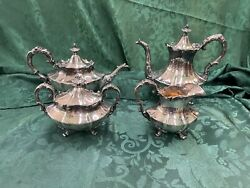 Reed And Barton Silverplate Tea Set 4 Piece Victorian 6710 11