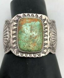 Older Sterling Silver And Turquoise Cuff Bracelet With Nice Stamping