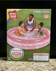 Play Day 3 Ring Inflatable Play Kids Swimming Pool Pink Unicorns Age 3+ 5 Ft