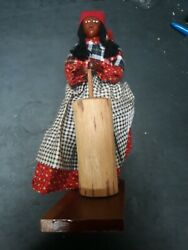 Rare Cherokee Indian Wood Carved Doll By Richard Crowe Damaged