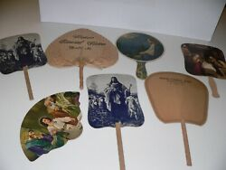Vintage Hand Fan Lot-colorful Scenes For Funeral/church/ads Illinois