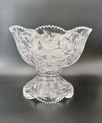 Striking Large Ideal Company Canastota Cut Glass Punch Bowl Floral 3