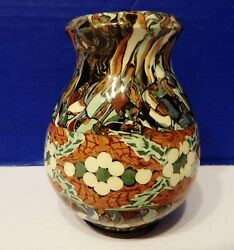 Vallauris Gerbino French Mosaic Pottery Vase Agateware Marked