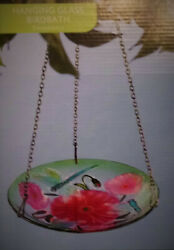 Glass Hanging Bird Bath And Feeder Dragonfly Flower Chain Included Free Shipping
