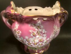 Planter Antique French Majolica Purple White And Yellow Large Floral Jardiniere
