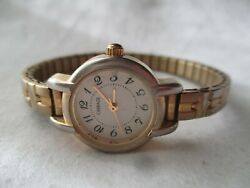 Carriage By Timex Wristwatch Gold Tone Expansion Band Round White Face