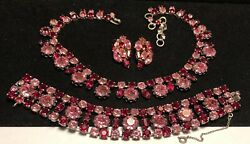 Schreiner Ny Parure Rare Vintage Signed Red Pink Glass Rhinestone 3pc Set A6