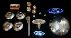 Junk Drawer Lot Of Ford Model A And Model T Hub Caps And Emblems 16 Items