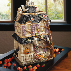 Halloween Harvest Haunted House Cookie Jar Ceramic Sweets Container Roof Lid