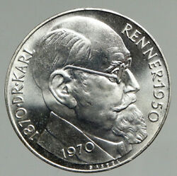 1970 Austria With Politician Karl Renner Vintage Silver 50 Schilling Coin I94628