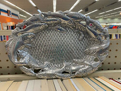 Arthur Court Fish Trout Salmon Platter Tray Oval Serving Tray 9 X 13 1/2 E