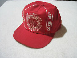Vintage Ibew Local 53 Red White Snap Back Cap Unstructured Union Made In Usa