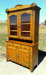 Vintage Tiger Oak 2 Piece Step Back Flat Wall Cupboard 1950andrsquos Era Antique Style