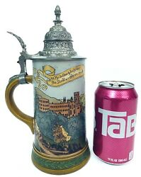 Hauber And Reuther Antique German Beer Stein 424 Heidelberg Germany Castle Palace