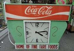 Vintage Coca Cola Electric Lighted Clock And Advertisement Sign Rare 4ft X 3ft