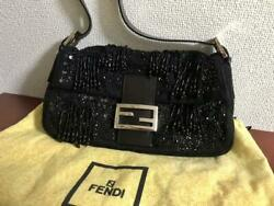 Used Fendi Baguette Beads And Sequins Hand Bag With Storage Bags Guarantee Card